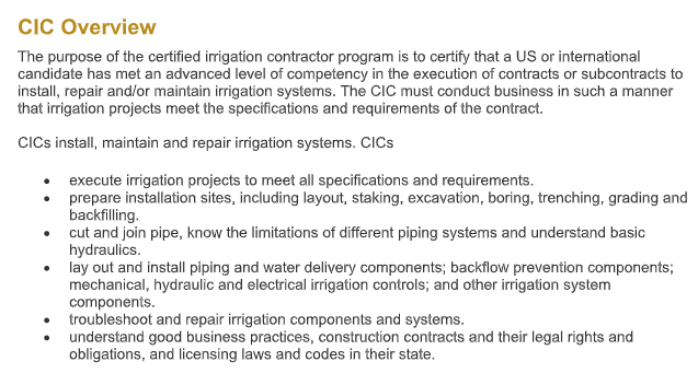 Certified Irrigation Contractor overview